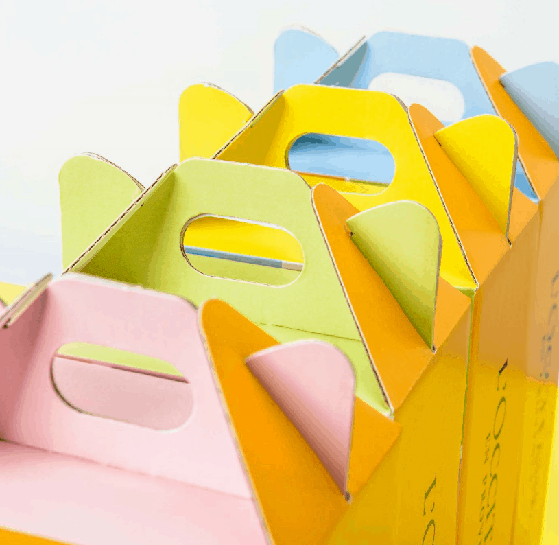 Corrugated Handle Boxes as luxury ecommerce packaging for L'Occitane