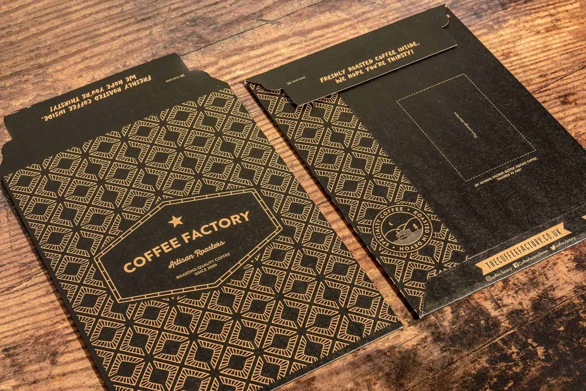 the coffee factory branded e-commerce packaging